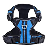 PUPTECK Best No-Pull Dog Harness with Vertical Handle,Calming Adjustable Reflective Outdoor Adventure Pet Vest,Blue XS
