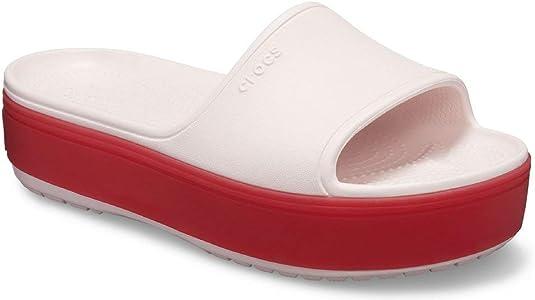 Crocs Platform Slide Sandal, Barely Pink/Pepper, 11 US Women / 9 US Men