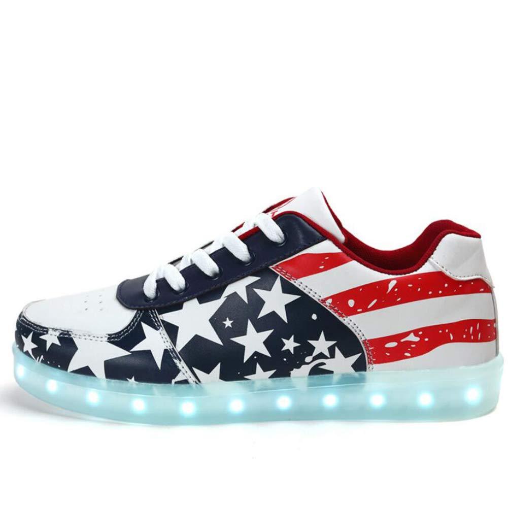 Männer Frauen Schuhe Kunstleder LED Schuhe Frühling Herbst Leuchten Schuhe Funkelnden Glitter für Sportliche Casual Outdoor Rot Blau