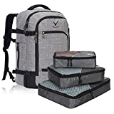 Hynes Eagle Travel Backpack 40L Flight Approved Carry on Backpack, Light Grey with 3PCS Packing Cubes