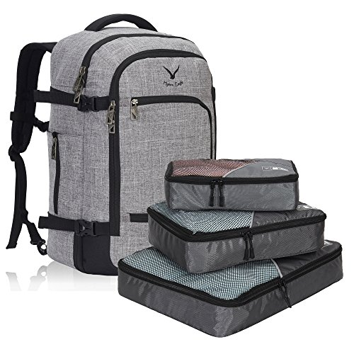 Rick Steves Convertible Carry On (Hynes Eagle Travel Backpack 40L Flight Approved Carry on Backpack, Light Grey with 3PCS Packing Cubes)