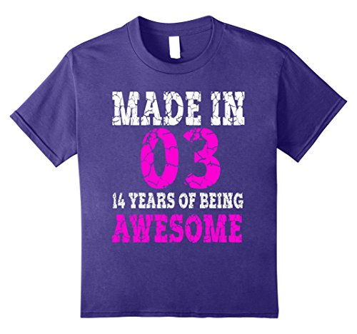 Kids 14th Birthday Gift T-Shirt Made In 03 cute 14 yrs old gift 8 Purple
