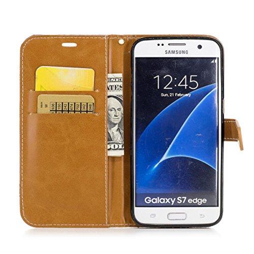 Samsung Galaxy S7 Edge Funda Negro, MEETER Libro PU Cuero Case Con Flip case cover, Cierre Magnético, Función de Soporte, Tarjeta y efectivo titular, Billetera con Tapa para Samsung Galaxy S7 Edge, Co marrón