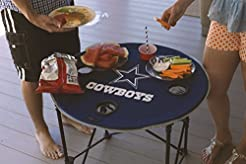 NFL Collapsible Round Table with 4 Cup H...