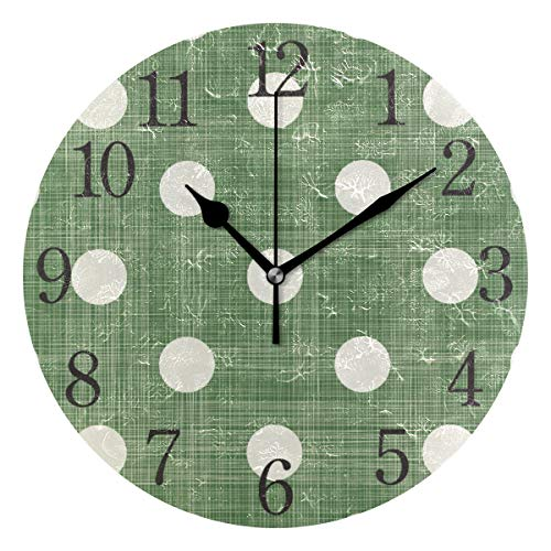 senya Wall Clock Polka Dot Green Silent Non Ticking Operated Round Easy to Read Home Office School -