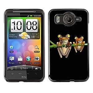 Caucho caso de Shell duro de la cubierta de accesorios de protección BY RAYDREAMMM - HTC G10 - Frogs Art Night Black Drawing Cartoon Green
