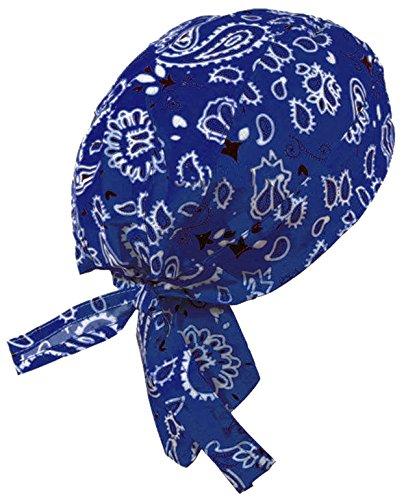 Royal Blue Paisley Biker Skull Cap Aka: Doo Du Rag Cap Bandana Head Wrap Hat
