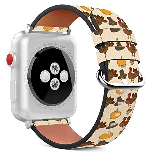 Compatible with Apple Watch - 38mm Leather Wristband Bracelet with Stainless Steel Clasp and Adapters - Thanksgiving Turkey