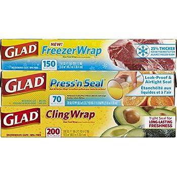 Glad Plastic Food Wrap Variety Pack - Press'n Seal Wrap - FreezerWrap - ClingWrap - 3 pack