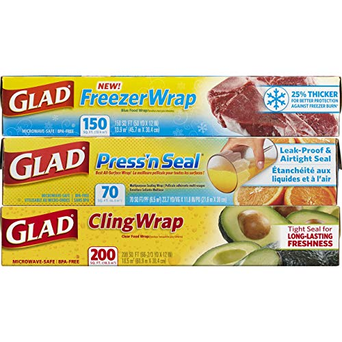 Glad Plastic Food Wrap Variety Pack - Press'n Seal Wrap - FreezerWrap - ClingWrap - 3 pack (Rap Plastic)