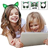 Fashional Cat Ear Headphones, IPRO Cat Earphone-LED Glowing Cat Ear Head phone-Cute Headphone for Computer,Tablet,Phone,MP3,MP4,etc-Green