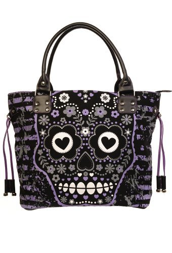 Bag Purple Canvas Tote Banned Skull qzwIIX