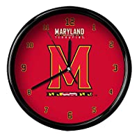 NCAA University of Maryland Official Black Rim Basic Clock, Multicolor, One Size