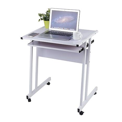 Homgrace Mesa de Ordenador en Forma de Z, Mesa de Escritorio con 4 Ruedas para Fácil de Mover para Hogar u Oficina