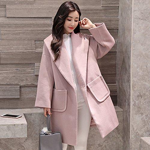THWS La mujer abrigos Cocoon tipo Long bi felpa color sólido rompevientos ropa, rosa, S: Amazon.es: Ropa y accesorios