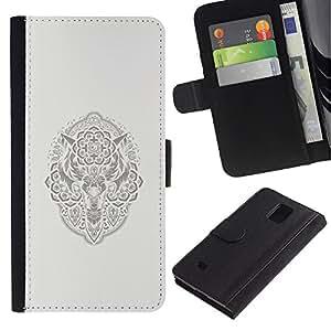 ZCell / Samsung Galaxy Note 4 IV / Native American Viking Pattern Wolf / Caso Shell Armor Funda Case Cover Wallet / Nativo americano Viking Dise&