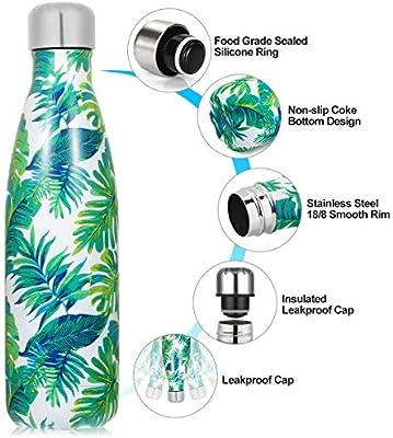 Botella de Agua de acero inoxidable sin BPA-500/750/1000 ml Botella Termica aisladas al vacío Botella de doble pared reutilizable Mantiene bebidas 24h ...