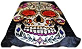 King Size Bed Vs Queen V's Signature Collection 90x82 Sugar Skull Skeleton dias de los muertos design Luxury Super Soft Medium Weight KING/queen size Mink Blanket 1ply