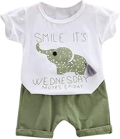 EFINNY Summer Baby Boy Casual Cartoon Print Short Sleeve T-Shirt Shorts Set Toddler Cotton Outfits