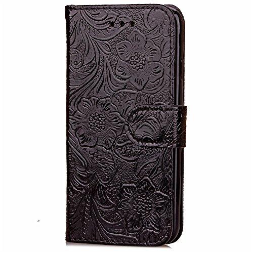 iPhone 7 Plus Hülle, Cozy Hut ® Design Genuine Leather Series Hülle | Apple iPhone 7 Plus | [Granatapfel-Muster] Elastisch [schwarz] Ultimative Schutz vor Stürzen und Stößen - [Skinning-Karte] Zubehör