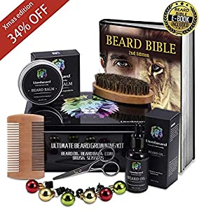 UPGRADED Beard Kit for Men Beard Growth Grooming & Trimming with Unscented Leave-in Conditioner Oil, Mustache & Beard Balm Butter Wax, Beard Brush, Beard Comb, Sharp Scissors, Best Perfect Gift from Comfy Mate