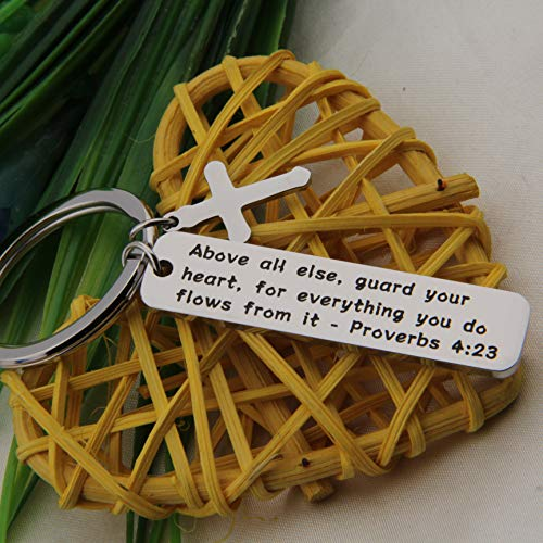 FEELMEM Proverbs 4:23 Above All Else Guard Your Heart Bible Verse Keychain Religious Jewelry Christian Keyring Gift (Silver) by FEELMEM (Image #4)
