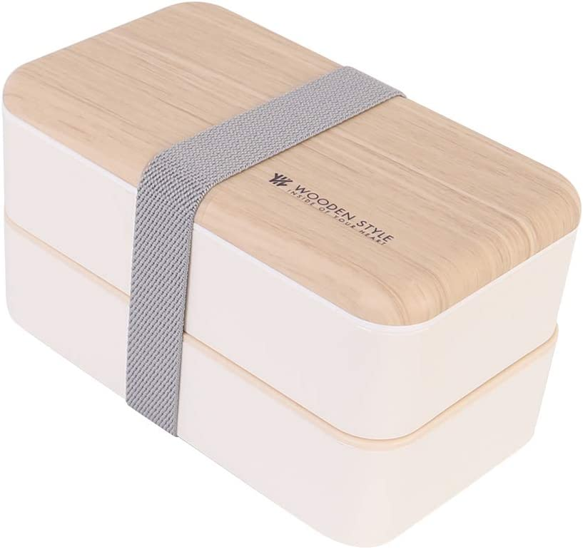 Lunch Bento Box Wood Grain Style Food Storage 2 Stackable Square Containers with Chopsticks and Spoon (White 1200ml)
