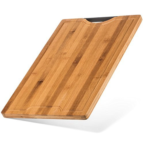 Best Designed Organic Bamboo Cutting Board - Thick Strong Bamboo (XL - 18'' x 12'') by Bamboo