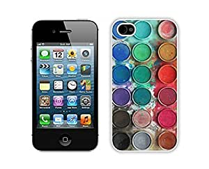 Custom Apple Iphone 4s White Case Durable Soft Silicone TPU Watercolor Sets With Brushes Art Phone Cover Accessories for Iphone 4