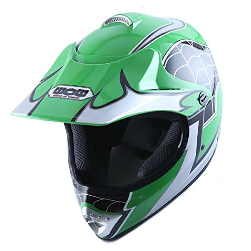 Amazon.com: Motocross MX BMX Bike Youth Spider Green Helmet(Size: Small) + Goggle + Skeleton Glove (Size: Medium): Automotive