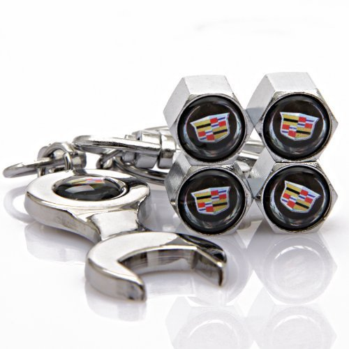 Black Cadillac Tire Valve Caps with Bonus Wrench Keychain