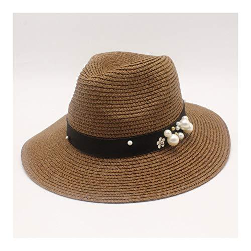 ANNEELB ora Male SunBeach Visor Cap Chapeau Cool Jazz Trilby Cap Sombrero Brown 56 58CM