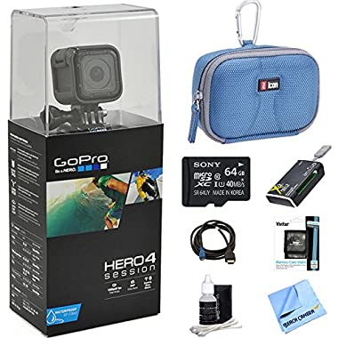 GoPro HERO Session Action Camera Ready for Adventure Bundle Includes GoPro Hero 4, 64GB Micro SDXC Memory Card, Case, Card Reader, Memory Card Wallet, HDMI, Lens Cleaning Kit and Cleaning Cloth