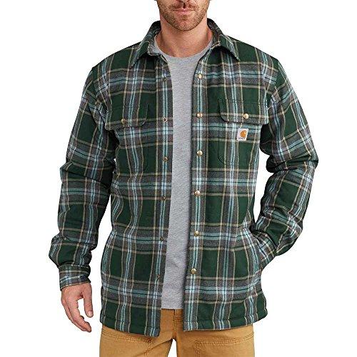 Carhartt Men's Big and Tall Hubbard Sherpa Lined Shirt Jacket, Canopy Green, 3X-Large - Lined Mens Shirt Jacket