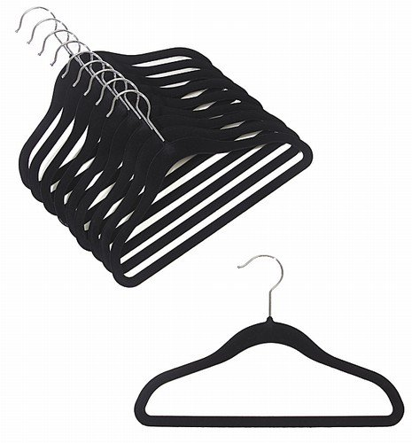 ULTRA-SLIM CHILDREN'S VELVET SHIRT/PANT HANGERS - SET OF 100 - BLACK