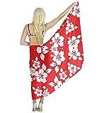 Women's Wedding Evening Dress Shawl Wrap, Red Hawaiian Flowers Hair Head Scarf