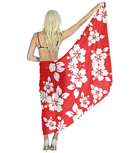 Women's Wedding Evening Dress Shawl Wrap, Red Hawaiian Flowers Hair Head Scarf by YESGOCO