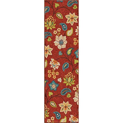 """Orian Rugs 2313 Veranda Indoor/Outdoor Garden Chintz Runner Rug, 2'3"""" x 8', Red from Orian Rugs"""