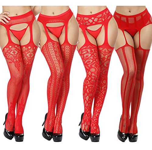 TGD Fishnet Stockings Tights Sexy Suspender Pantyhose for Women Thigh High Stocking Colors 4 Pairs (Red 4xStyle)