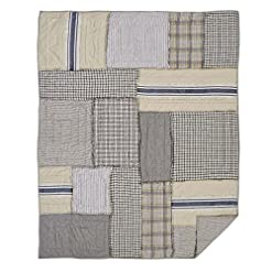Bedroom Piper Classics Mill Creek Quilted Throw, Oversized, 70 x 55, Modern Farmhouse Style Bedding, Country Quilted Patchwork… farmhouse blankets and throws