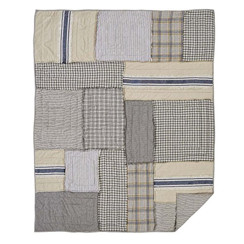 Piper Classics Mill Creek Quilted Throw, Oversized, 70 x 55, Modern Farmhouse Style Bedding, Country Quilted Patchwork Bedding Grain Sack Stripe, Ticking & Plaid Fabrics, 100% Cotton