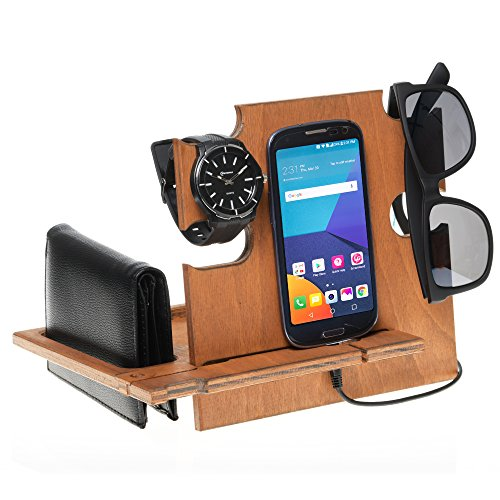 Docking Station Teak, Cell Phone Stand for Men - Wooden Desk Organizer for Devices ()