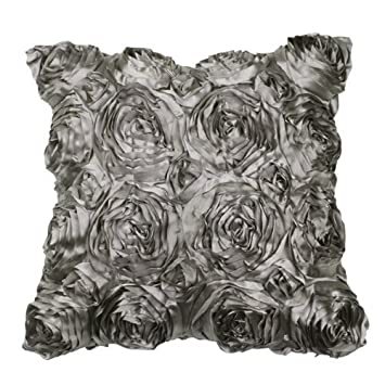 Amazon.com: VivReal gris satén rosa flor cojín ...