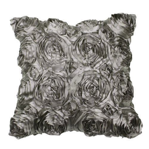 VivReal Grey Satin Rose Flower Square Pillow Cushion Pillowcase Case Cover 42x42cm ()
