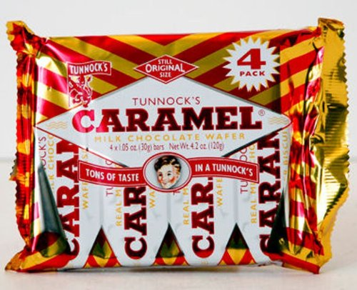 Tunnock's Caramel Milk Chocolate Wafer -30g bar [pack of 4]