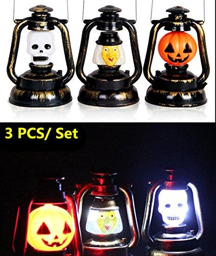 3pcs/set Halloween Pumpkin Kerosene lantern Horrible Laughter Hand Held-Flash Lamps Witch Grimace Light Halloween Decorations