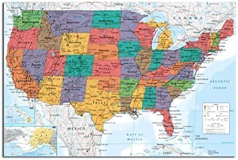 Cartina Politica Usa Da Stampare.Mappa Da Parete Usa Stati Uniti Chart Poster Raso Laminato Opaco 91 5 X 61cms 36 X 24 Inches Amazon It Amazon It