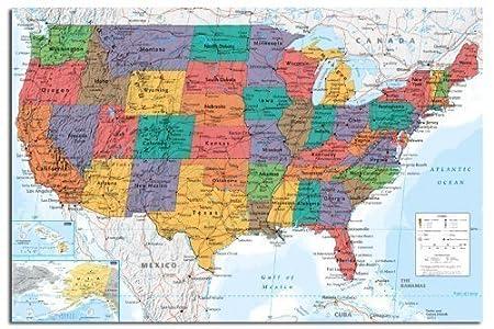 Cartina Geografica Usa Politica.Mappa Da Parete Usa Stati Uniti Chart Poster Raso Laminato Opaco