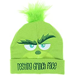 The Grinch Dr. Seuss Movie Resting Grinch Face Adult Cuffed Knit Beanie Hat (One Size, Green)