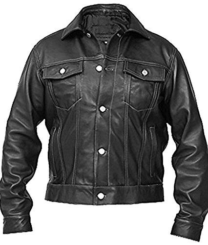 Quality Brando Shirt Jacket Geniune Men's Black Leather Hi Coller w5FERX6nq